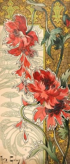 Paintings are by Mary Golay, an artist whose art nouveau artworks were used for postcards in the early 1900's.