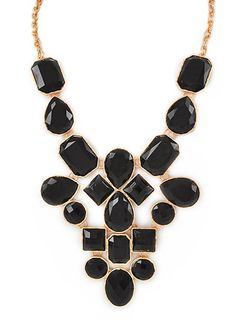 Black Jewel Statement Necklace – Modeets