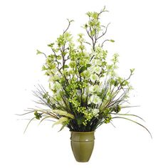"""Faux Hazel Arrangement  $85 Add an organic touch to your kitchen windowsill or entryway console table with this lifelike berry and hazel arrangement.  Color:Green and cream Features:Includes faux bell, berries and hazel Dimensions:27"""" H x 21"""" Diameter"""
