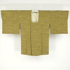 Macha green, haori / 裄64cm/Mサイズ/ミセス向き。【リサイクル 道行コート】化繊/緑色/山鳩色地/抽象柄 【あす楽】【コンビニ受取対応商品】【中古】【リサイクル着物 通販 古着 あい山本屋】 http://www.rakuten.co.jp/aiyama #Kimono #Japan #aiyamamotoya