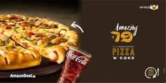 VIP Pizza Double Topping Pizza and Coke at Rs 79 Visit: www.amazedeal.in #StayAmazed #AmazingSavings #Chandigarh #Food