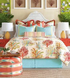 Maldive was inspired by vacations to sun-drenched tropical shores. The cool colors of turquoise lagoons, pink corals reef and white beaches. This bed brings the tropical palette to decorative life for our own homes.