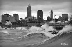 High winds stir up massive waves at Cleveland, Ohio's Edgewater Beach. Edgewater Park, Edgewater Beach, Cleveland Rocks, Cleveland Ohio, Forest City, County Seat, Ohio River, Lake Erie, Best Location