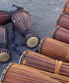 Cuban style Bata hand drums... traditionally come in 3 different sizes and now you can purchase bolt tuned models...