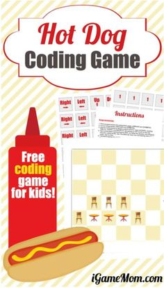 Crucial Computer Coding Skills You Can Teach Kids at Home Free coding games for kids: Hot Dog Coding Game, plus activity ideas on teaching the 5 most important coding skills to kids with the free game Stem For Kids, Science For Kids, Games For Kids, Fun Games, Coding Games For Beginners, Coding For Kids, Kids Learning Activities, Science Activities, Science Projects