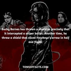 Bucky Barnes has thrown a shield so precisely that it intercepted a sniper bullet. Another time, he threw a shield that sliced Hawkeye's arrow in half mid flight. #wintersoldier #tvshow #theavengers #comics #marvelcomics #interesting #fact #facts #trivia #superheroes #memes #1 #movies #captainamerica #buckybarnes