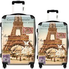 Suitcase Eiffel blue tower Paris