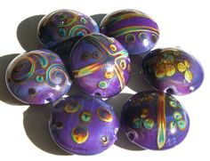 Electric Orchid Batikshandmade lampwork bead set of 7 by Genea, $64.50  <3<3<3 @