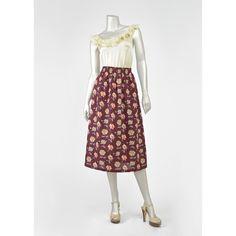 Vintage Floral Skirt - 70s Skirt - Burgundy Skirt - A Line Midi Skirt - Ship N Shore High Waist Skirt - 1970s Skirt - Poppy Flower Floral Print Skirt (Large - XL - Plus Size)  #vintage #clothing #skirts #fashion #style