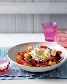 Tomato Panzanella with Ricotta: This quick main-course Italian bread salad makes the most of ripe summer tomatoes. Toasted cubes of stale, crusty loaf absorb the tomatoes' juices without disintegrating. If you prefer, serve the panzanella with slices of fresh mozzarella instead of ricotta.