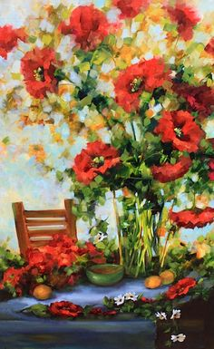 Poppy Zest - 48X30 - ready for a sunny breakfast nook! Nancy Medina Art $1200