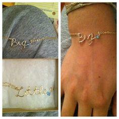 sorority big and little bracelets. wire, bead, chain.