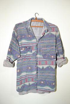shirt, pattern, denim, aztec, tribal, red, green, blue, buttons   Wheretoget.it