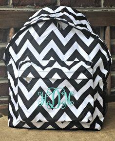 Black Chevron Backpack-includes Monogram-Chevron Bookbag-School Bag on Etsy, $29.50