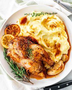 Roasted Cornish Hen, Cornish Hen Recipe, Cornish Hens, Leftover Chicken Recipes, Leftovers Recipes, Grilled Chicken Recipes, Chicken Mashed Potatoes, Lemon Potatoes, Cooking Recipes