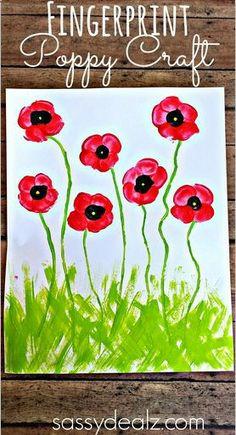 Fingerprint Poppy Flower Craft for Kids #Spring art project #MemorialDay #Mothersday card idea