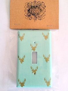Teal and Gold Deer Fabric Covered Single Light Switch Cover / Switch Plate / Elk / Antlers / Home Decor / Nursery / Baby Shower Gift / Kid's Bedroom -- Click image for more details.