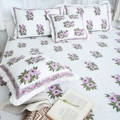 """Bedsheet : 108""""X108"""" Pillow Cover : 27""""X18"""" Shipping :Dispatched in 10-15 working days as this product is made on order Product Details :Cotton hand block printed bed sheet with 2 pillow covers and 2 cushions CARE: Hand wash separately in cold water DISCLAIMER: It might have slight irregularities because of hand block Bed Linens, Linen Bedding, Indian Bedding, Vibrant Colors, Colours, White Sheets, Cushions, Pillows, Bed Sheets"""