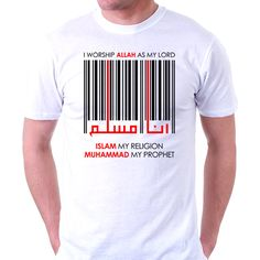 """This design promote a hadith from the Prophet Muhammad (PBUH). """"I am pleased with Allah as a lord, Islam as a religion, and Muhammad (PBUH) as a prophet."""" (Narrated by Ahmad, An-Nasa'i, Abu Daud and At-Tirmidzi). Design Kaos, Tee Design, Punjabi Suits, Cool Tees, Printed Shirts, Shirt Designs, Menswear, Mens Fashion, Casual"""
