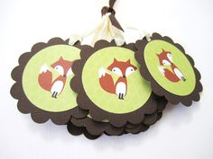 This is a set of 12 cute brown Fox Tags. These little fox gift tags are great for baby shower and birthday event. It's a great tag to use for anything in fox theme. For example, if you have a fox knitted socks shop, it'll be a great tag to attach to your product.  Each tag is adorned with ribbo...