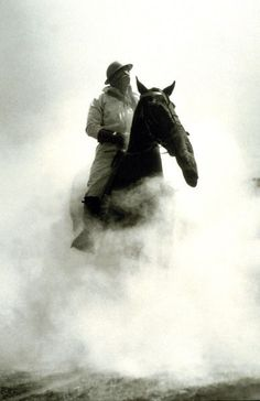 WWI during the Battle of Verdun, a soldier and his horse both don gas masks. 1916
