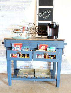 From a $50 garage sale kitchen island to super cute coffee bar!