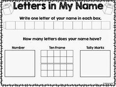 Kindergarten: Holding Hands and Sticking Together: Name Writing Activities and FREEBIES! Kindergarten Names, Preschool Names, Number Sense Kindergarten, Kindergarten Morning Work, Name Writing Activities, Ten Frame Activities, Writing Worksheets, 1st Grade Math, Grade 1