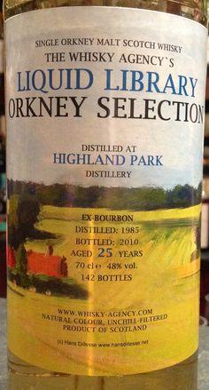 Highland Park 1985/2010 25yo 48% Scotch Whiskey, Bourbon Whiskey, Highland Park Distillery, Whiskey Brands, Single Malt Whisky, Liquid Gold, Bartender, Liquor, Beer