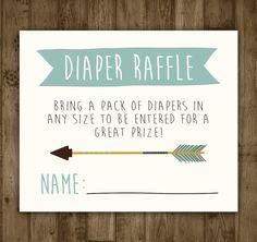 Diaper Raffle Insert. Printable. Arrow. by AmandaMillsShop on Etsy