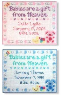 """Handmade Finished Birth Arrival Record """"Babies are a gift from Heaven"""" Wall Hanging by StephsStuffStudio on Etsy Plastic Canvas Ornaments, Plastic Canvas Tissue Boxes, Plastic Canvas Crafts, Plastic Canvas Stitches, Plastic Canvas Patterns, Nursery Patterns, Baby Patterns, Needlepoint Patterns, Cross Stitch Patterns"""