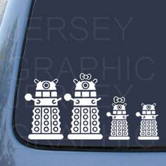 DR WHO DALEK Family Vinyl Decal Set w K9 Cat by JerseyGirlGraphic, $10.00
