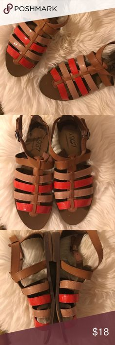 Madewell | gladiators Super easy to wear with anything!  The perfect mix of soft saddle leather and patent cross straps in tan and orange add a little pop of color and shine.  Worn but still in great condition.  Fits tts or a smaller size 8. Madewell Shoes Sandals