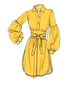 Vogue Patterns Sewing Pattern Misses' Top and Belt Dress Design Drawing, Dress Design Sketches, Dress Drawing, Fashion Design Drawings, Dress Designs, Sketch Design, Drawing Sketches, Illustration Mode, Fashion Illustration Sketches