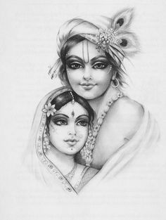 Radha Krishna - Such a tender and beautiful drawing. Hare Krishna, Radha Krishna Sketch, Krishna Drawing, Radha Krishna Images, Krishna Pictures, Radha Krishna Love, Krishna Painting, Krishna Lila, Durga Images