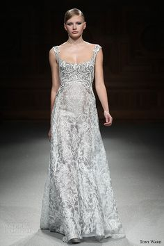 tony ward couture spring summer 2015 runway sleeveless filigree embroidery aline dress