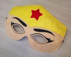 Superwoman inspired felt mask. Superhero mask. Superwoman | Etsy Wonder Woman Mask, Masquerade Mask Template, Paw Patrol Masks, 5 Little Monkeys, Felt Finger Puppets, Puppet Toys, Felt Mask, Mask Party, Halloween Masks