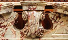 Neo Renaissance sarrancolin marble Art And Architecture, Architecture Details, Renaissance, Marble Carving, Marble Stones, Hearth, Jasper, Coral, Statue