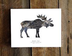 Moose Silhouette In Bark  Woodland Animal  Christmas by wildpulp, $22.50