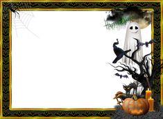 An inscription on the frame: Happy Halloween Disney Halloween, Halloween Cartoons, Spooky Halloween, Halloween Photo Frames, Marcos Halloween, Halloween Window Silhouettes, Halloween Mignon, Halloween Borders, Fröhliches Halloween