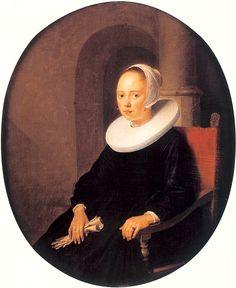 Portrait of a Woman - Gerrit Dou Rembrandt, Gabriel Metsu, Gerrit Dou, Dutch Golden Age, Dutch Painters, White Caps, Baroque Fashion, Art Database, Chiaroscuro