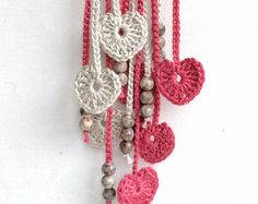 Limestone and orchard hearts long beaded by GabyCrochetCrafts