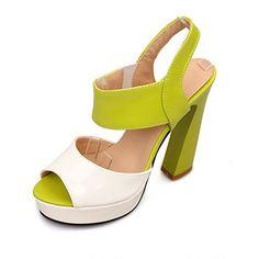 09c6eca60277c3 VogueZone009 Womens Open Peep Toes High Heel Chunky Platform PU Sandals  with Assorted Colors