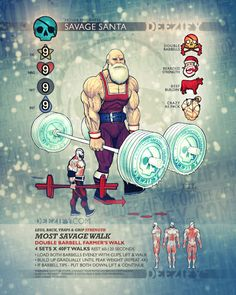 Most Savage Walk - The Hardest Exercise In The World #powerlifting #strong #training #santa #beard