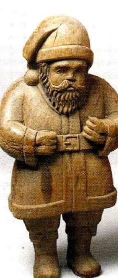 Folk art Santa of carved wood ,early 20th century
