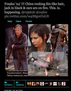 @24 Live Another Day  Freakn '24' !!! Chloe rocking Sin-like hair, jack in black & cars are on fire. This. is. happening.