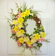 Daffodil and Daisies Spring Wreath Front Door by Floralwoods, $57.00