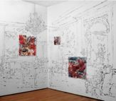 The Fragonard Room, sumi ink w 3D lenticular prints. From SYMBIOTAXIPLASM Exhibition, SS Projects, NYC, 2012.