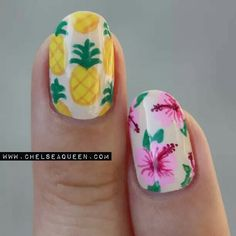 Pineapples and hibiscus nailart #nailart @Jenniferw