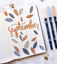 Ideas for your September bullet journal including the best themes, cover page, habit trackers, and more pretty September bujo page ideas. The cleverest bullet journal ideas. Bullet Journal Cover Ideas, Bullet Journal Monthly Spread, Bullet Journal Notebook, Bullet Journal Aesthetic, Bullet Journal School, Bullet Journal Themes, Journal Covers, Bullet Journal Inspiration, Journal Ideas