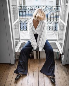 From @Beigerenegade Instagram - Minimal Life and Style Inspiration Source As much at home in #Paris as in @annaquanlabel. Wearing #AnnaQuan 'Symphony' collection Adagio shirt & Motif palazzo pant #parisfashionweek